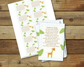 Printable book request insert, books for baby invitation inserts, bring a book instead of a card, giraffe, jungle theme baby shower