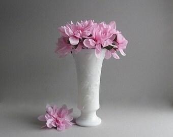 Vintage Milk Glass Vase Tall Vase Wedding Vase