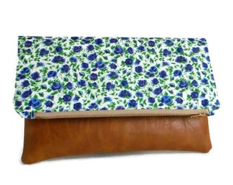 Liberty of London - Foldover Clutch - Ricardo's Blooms - Blue Colorway - Envelope Clutch