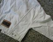 Vintage 1980s Cropped  Bongo White Denim Jean Jacket S