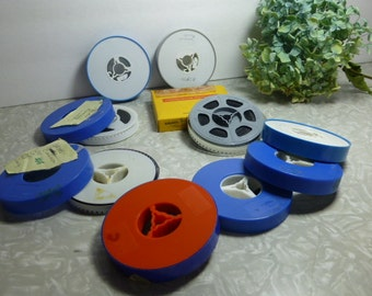 "Kodak 3"" film reel canister 8 mm Plastic Blue Grey Lot of 9"
