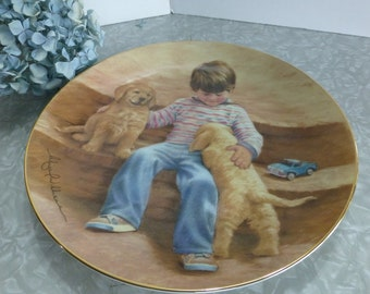 Best Buddies Boy with Puppies Bobbie Williams Magic of Childhood Decorative Plate
