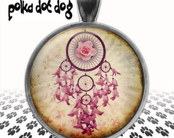 Dreamcatcher -- Vintage-Style Image Large Glass-Covered Pendant
