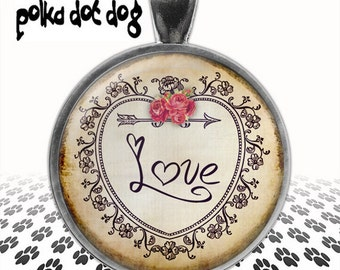 There's Love In My Heart -- Whimsical Large Glass-Covered Pendant
