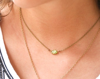Green fire opal choker necklace.Tiedupmemories