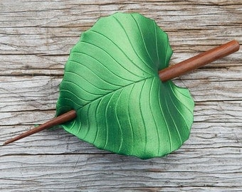 Leather Hair Accessory - Emerald Green Birch Leaf Barrette Hair Stick, Hair Slide Or Shawl Pin