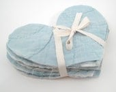 10 Cutter Quilt Hearts - Light Blue - Vintage Quilt Hearts - Shabby - Primitive crafting supplies - heart appliques