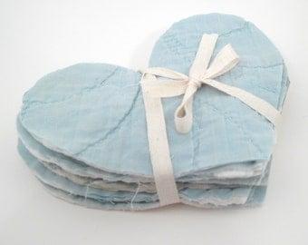 10 Cutter Quilt Hearts - Light Blue - Vintage Quilt Hearts - Shabby - Primitive crafting supplies - heart applique - die cut shapes