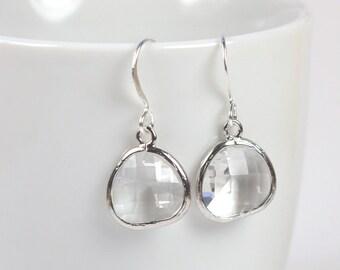 April Birthstone Clear Silver Framed Dangle Earrings, Crystal Silver Dangle Earrings, Silver Earrings, Bridal Earrings, #794