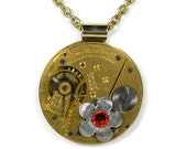 Steampunk Necklace ILLINOIS Womens Gold Pocket Watch Silver Flower HYACiNTH Crystal Wedding Anniversary Mothers Gift - Jewelry by edmdesigns