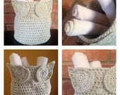 Owl Crochet Storage Bin Basket Nursery Laundry Kitchen Bathroom