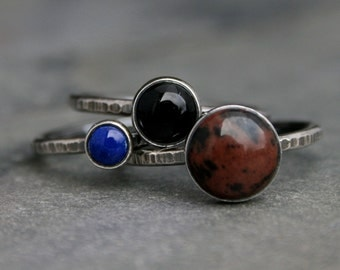 Earth Sky Stacking Rings, Mahogany Obsidian, Lapis Lazuli, Black Onyx, Sterling Silver Stack, Set of Three Stackable Rings, Rustic Finish