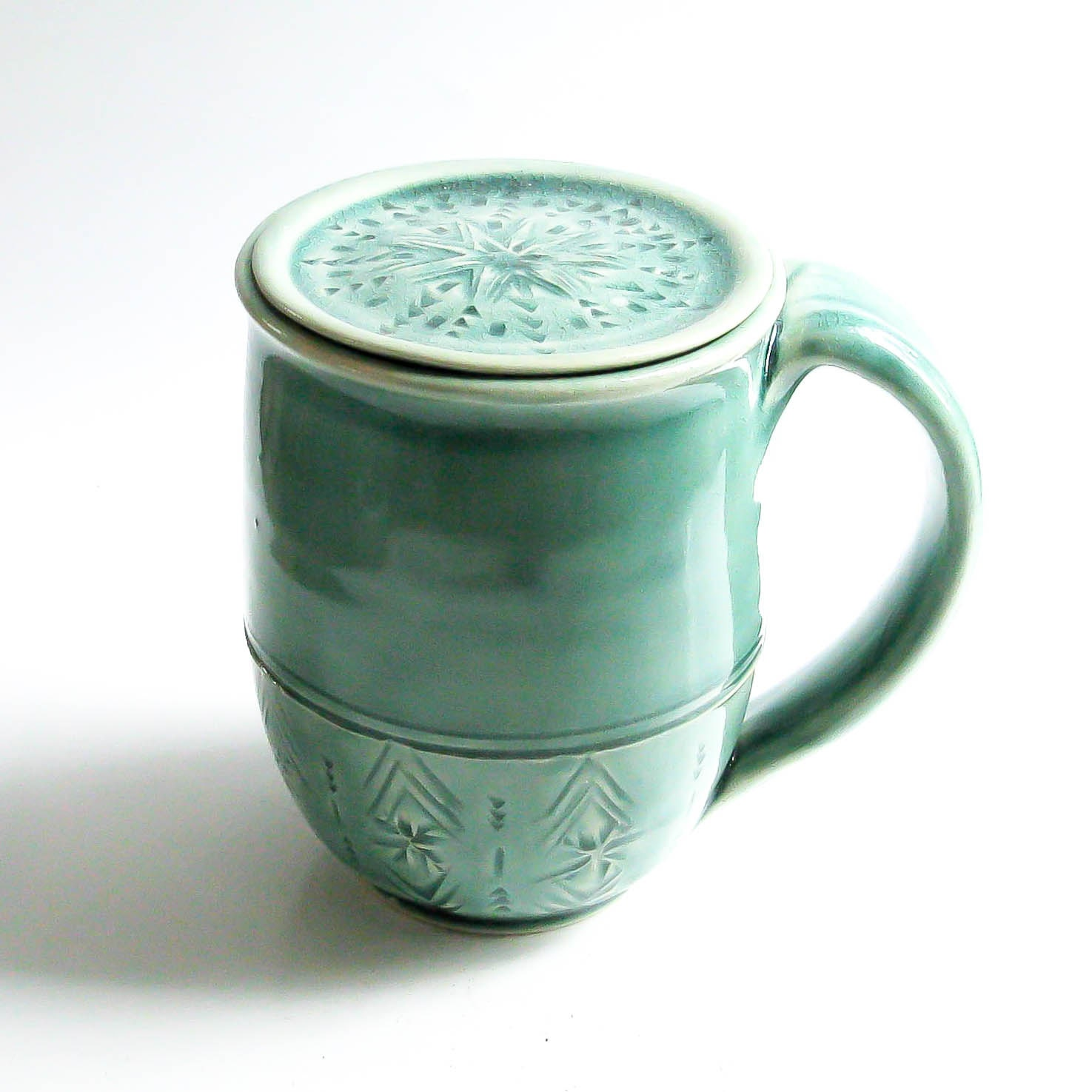 Cup With Lid : Handmade coffee mug with lid personalized lidded pottery