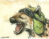 Laughing Hyena in a Aviator Hat- prints