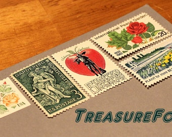 GARDEN Delights .. Unused Vintage US Postage Stamps .. Enough to mail 5 letters. Floral display on mail, pen pals, Calligraphy, wedding post