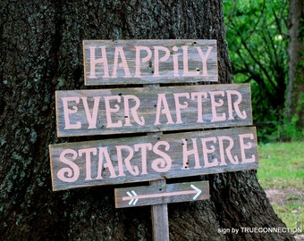 Happily Ever After Sign, Any COLOR Letters. Welcome To Our Wedding Sign, Starts Here, Wood Arrow Sign, Rustic Country Wedding, Custom Sign