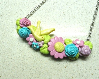 Shabby chic pendant  flowers necklace polymer clay jewelry flowers