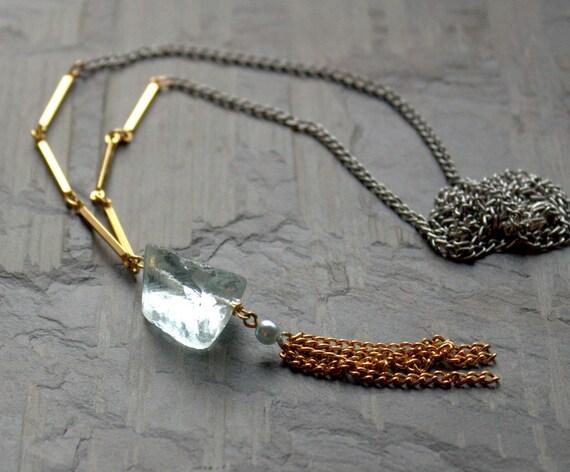 Long Pendant Necklace, Long Tassel Necklace, Long Boho Necklace, Aquamarine Quartz Raw Stone Aqua Gold Silver Raw Stone Jewelry, Ice Blue