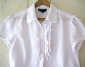 Womens WHITE LINEN Blouse with Ruffle Size S-M