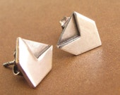 Geometric Sterling Silver Earrings,  Contemporary Small Post Earrings, Chevron Stud Earrings, Arrow Earrings,  Modern Metalsmith Earring