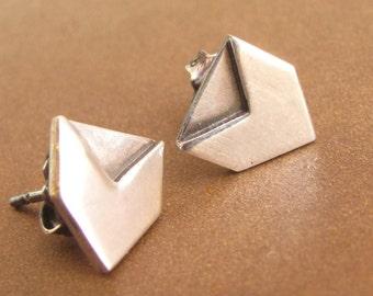 Geometric Sterling Silver Earrings,  Contemporary Small Post Earrings, Chevron Stud Earrings, Arrow Earrings,  Modern Metalsmith Earring