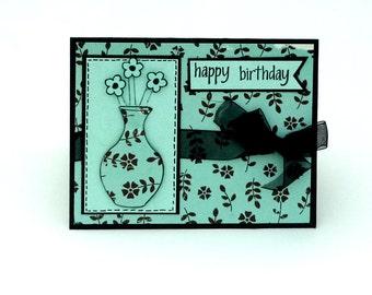 Birthday card, Happy Birthday, Blue and Black Flowers and Vase, Card for Her, Feminine Birthday