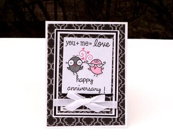Anniversary Card, Black and White with Birds, You and Me=Love, Wedding Anniversary, Love Card