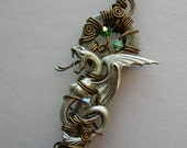 Winged Serpent Wire Wrapped Key Pendant -- Antiqued Silver Serpent, Green Crystals, Antiqued Brass Wire