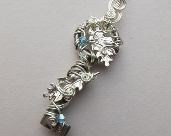 Winter Oak Leaves Key Pendant -- Wire Wrapped Antique Key, Silver Oak Leaves, Silver Wire, Pale Blue and Ice Clear Swarovski Crystals