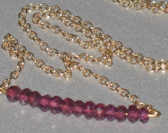 Tiny Faceted Gemstone Bar on Gold Chain  Necklace in Garnet, mPeridot, Carnelian, or Iolite