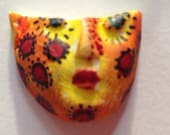 Handmade clay face jewelry craft supplies  handmade cabochon   flowers   polymer clay  findings yellow