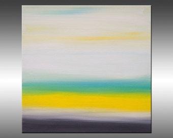 Sunrise 23 - Art Painting Original Abstract Paintings Original Painting Canvas Art Turquoise Gray Yellow White Modern Art Contemporary