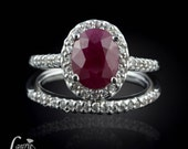 Ruby Ring, Ruby & White Sapphire Halo Engagement Ring w/Matching White Sapphire Wedding Band - July Birthstone Ring (customizable) - LS869