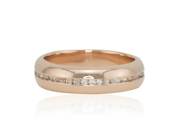 Wedding Band, 14kt Rose Gold Men's Wedding Band with Channel Set White Sapphires - Comfort fit - LS2245