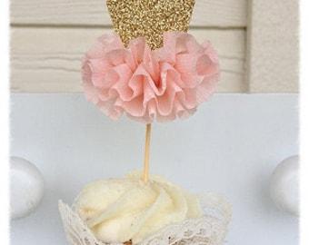 Gold Glitter Ballerina Tutu Cupcake Toppers Birthday Decoration Ballet decor Set of Six Birthday party