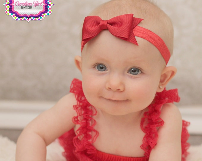 "Red Bow Headband  ~ 3.5""  Tuxedo Hairbow ~ Small Hair Bow ~ Girls Headband ~ Toddler Bow ~ Baby Hair Bow ~ Girls Hair Bow"