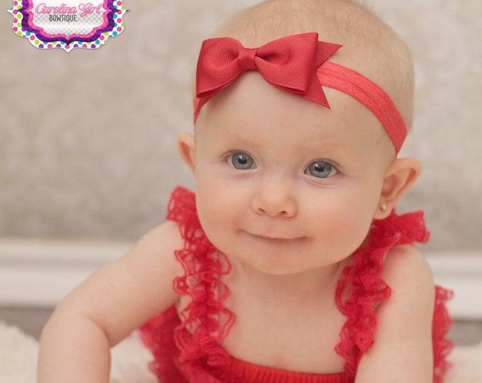 """Red Bow Headband  ~ 3.5""""  Tuxedo Hairbow ~ Small Hair Bow ~ Girls Headband ~ Toddler Bow ~ Baby Hair Bow ~ Girls Hair Bow"""