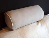 Pure Linen Bolster Pillow Cover,  Bolster Cushion Cover with Piping, Bedding, Gray, White, Blue, Joy1