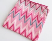 WET BAG / Zippered MINI Wetbag Pink Chevron / Zig Zag - Purse sized 5.5 x 5.5 Free Shipping