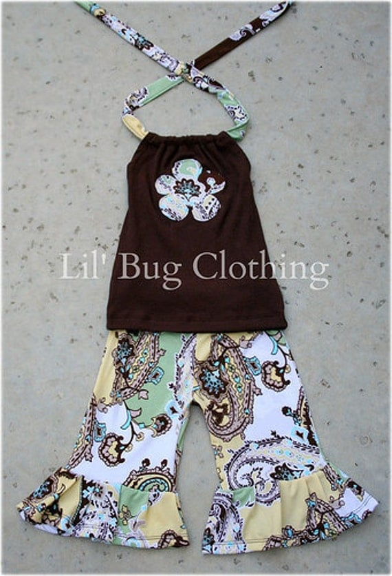 Custom Boutique Clothing Cocoa and Yellow Paisley Knit Comfy Knit Capri and Halter