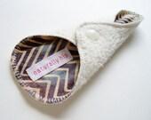 "6"" Organic Hemp Fleece & Batik Thong Panty Liner - Gray Brown Ivory Zig Zag - Cloth Menstrual Pad - Cloth Sanpro - Thong Liner"