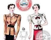 E-Pattern-1930s Day or Evening Blouse Pattern- Wearing History PDF Sewing Pattern