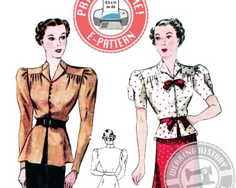 E-Pattern-1930s Day or Evening Blouse Pattern- Wearing History PDF Sewing Pattern