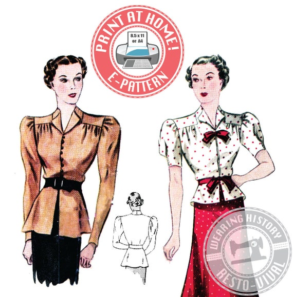 1930s Dresses, Clothing & Patterns Links 1930s Day or Evening Blouse Pattern- Wearing History PDF Sewing Pattern $12.00 AT vintagedancer.com