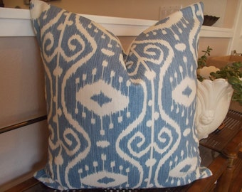 Medallion Ikat pillow cover blue and cream