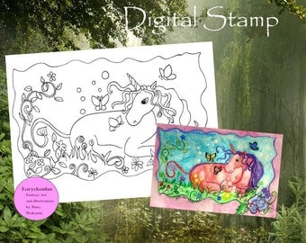 Digital Stamp Unicorn and butterflies Instant Download Coloring book page Printable Unicorn Fairy Tale Horse Fantasy art by Niina Niskanen