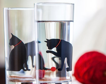 Set of 2 Cat Glasses - Everyday Glasses, Cat Glasses, Drinking Glasses, Water Glasses, Cat Lover, Cats, Black Cat, Cat Glass