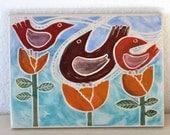 spring birds hand carved ceramic art tile