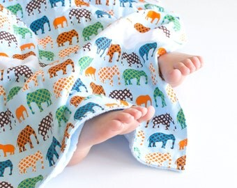 Baby Boy Patchwork Blanket Urban Circus Elephants (1)