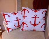 NAUTICAL Accent Pillow Cover Set of Two - RED ANCHORS White Background